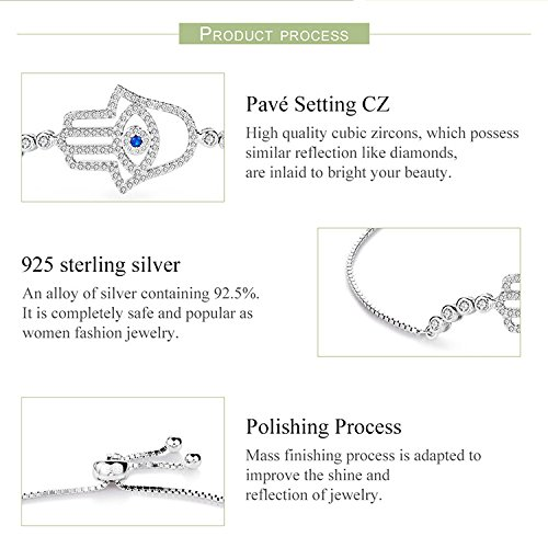 BAMOER 925 Sterling Silver Expandable Lucky Blue Evil Eye Chain Bracelet with Sparkling Cubic Zirconia for Women Girls Style 8 by BAMOER (Image #5)