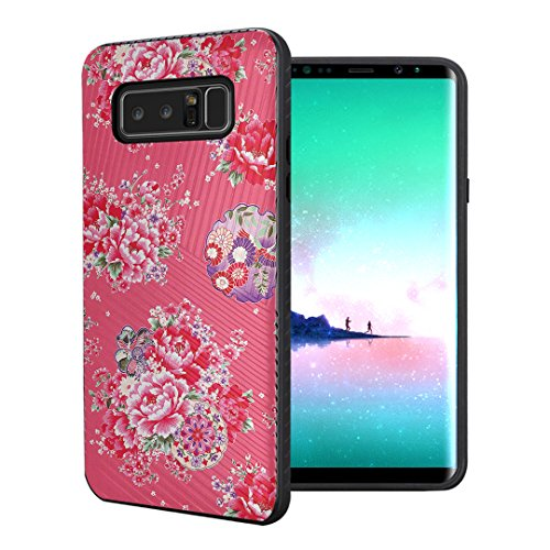 Dahlia Case Black (Capsule Case Compatible with Samsung Galaxy Note 8 [Embossed Diagonal Lines Hybrid Dual Layer Slim Armor Case Black] for Galaxy Note 8 - (Coral Dahlia))