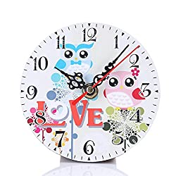 Wall Clocks,Pocciol Vintage Style Non-Ticking Silent Modern Colorful Antique Decorative Wood Wall Clock for Home Kitchen Office (C)