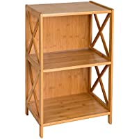 HollyHOME 2 Tier 100% Bamboo Sofa Console Tables with Bookcase Shelf Storage Organizer, Can Be Used as End Tables,Nightstand, Plant Stands, Flowes Stands
