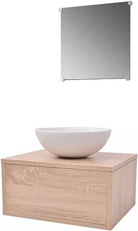 vidaXL Set de Mobiliario de Baño con Lavabo de Cerámica Pack de 3 ...