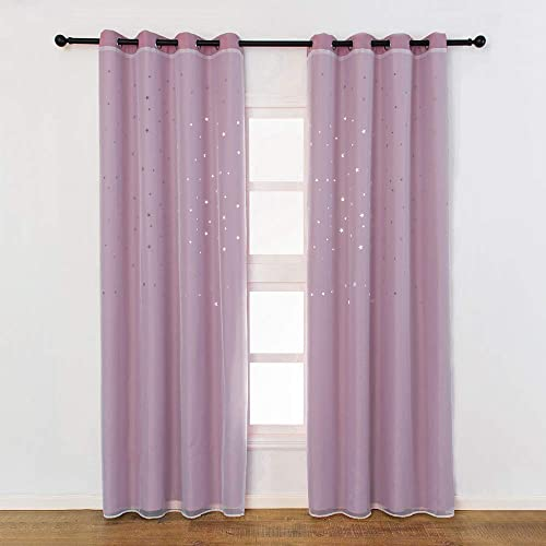 Decdeal Blackout Curtains, Star Shape Hollow Double Layer Cloth Yarn Combination Thermal Insulating Room Darkening Curtains 39 X98