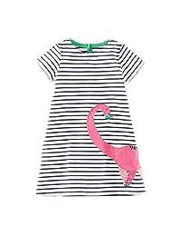 OHBABYKA Girls Cotton Cartoon Shortsleeve Stripe Dress,Cotton T-Shirt Dress