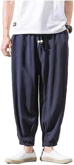 AngelSpace Men Cotton Linen Big & Tall Harem Pants Classic Wide Leg Pants