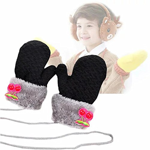 COFFLED Toddler Warm Winter Gloves 4 Pairs Kids Winter Knit, Cute Cherry Colorful Mitten With String for Girls