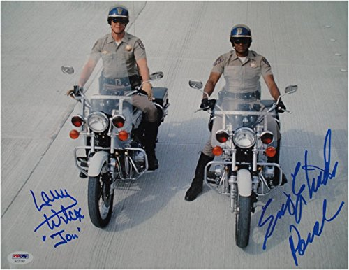 Erik Estrada Larry Wilcox Dual hand Signed CHiPs 11x14 Photo Riding on Bikes PSA Hand Signed 11x14 Photo