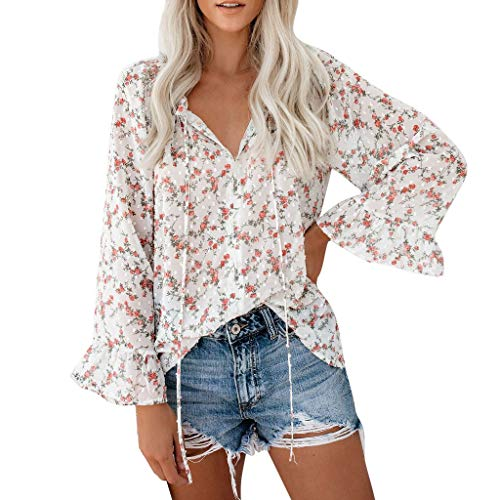 (TWGONE Bell Sleeve Tops for Women Floral V Neck Long Sleeve Flared Casual Loose Blouses Summer Shirts(Small,Red))