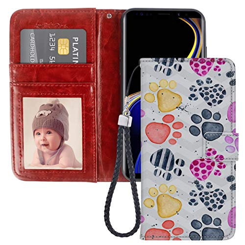 Prints Wallet Paw (Paw Print Samsung Galaxy Note 9 Case PU Leather Wristlet Folio TPU Stand Case with Card Slots Magnetic Closure Wrist Strap for Samsung Galaxy Note 9 Wallet Case Paw Print)