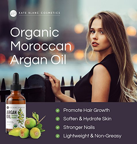 Review Moroccan Argan Oil (4oz), USDA Certified Organic, Virgin, 100% Pure, Cold Pressed by Kate Blanc. Stimulate Growth for Dry and Damaged Hair. Skin Moisturizer. Nails Protector. 1-Year Guarantee.