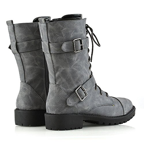 ESSEX GLAM Womens Mid Calf Lace Up Zip Ladies Biker Block Heel Army Punk Military Combat Boots Grey Synthetic Leather 8WHpwE