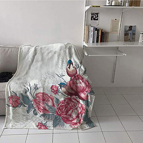 Khaki home Children's Blanket Cozy All Season Blanket (30 by 50 Inch,Romantic,Vintage Country Sparrows Birds with Roses and Leaves Artwork Print,Light Pink and Silver