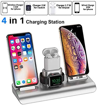 Wireless Charger For Iphone Charging Station For Apple Wireless Charging Pad Stand For Iphone Charger Dock Station Holder For Apple Watch Charger