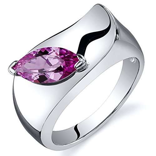 Created Pink Sapphire Ring Sterling Silver Rhodium Nickel Finish Marquise Shape 1.25 Carats Size 8
