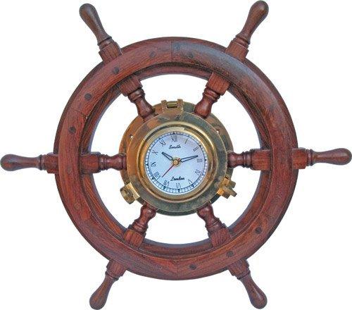 26'' Nautical Polystone Wood Porthole Ship Wheel Clock | Captain's Maritime Beach Home Decor | Nagina International by Nagina International