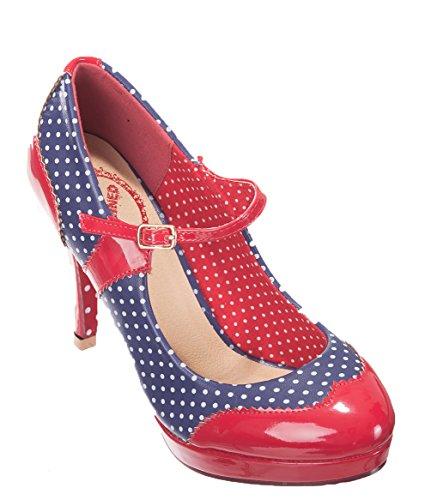 Banned - Bailarinas de Material Sintético para mujer Rojo rojo azul marino y rojo