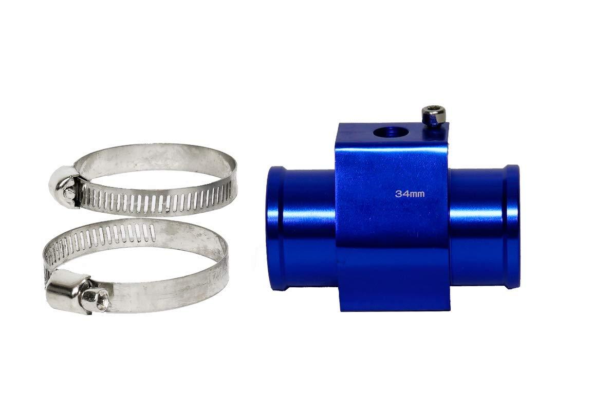 Blue, 40MM CarXX Water Temperature Sensor Adapter Temperature Gauge Radiator Hose Adapter