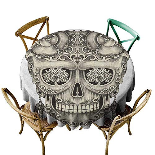 Price comparison product image Wendell Joshua Round Vinyl Tablecloth 60 inch Day of The Dead, Spanish Sugar Skull with Roses Dragonfly Eyes Feather and Earrings Artwork,  Grey Ivory Suitable for Indoor Outdoor Round Tables