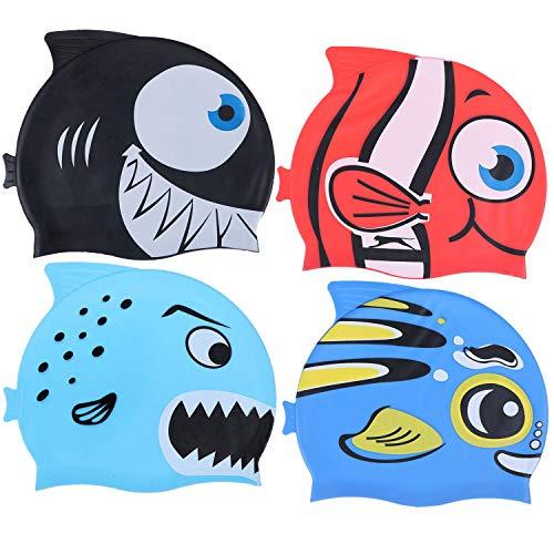 Xgood 4 Pieces Swim Caps Kids Swimming Caps Silicone Animal Swim Hats Bathing Cap Cartoon Fish Design Swim Hats Waterproof Kids Swimming Pool Hats for Boys Girls (Style 2) (Swimming Animal Cap)