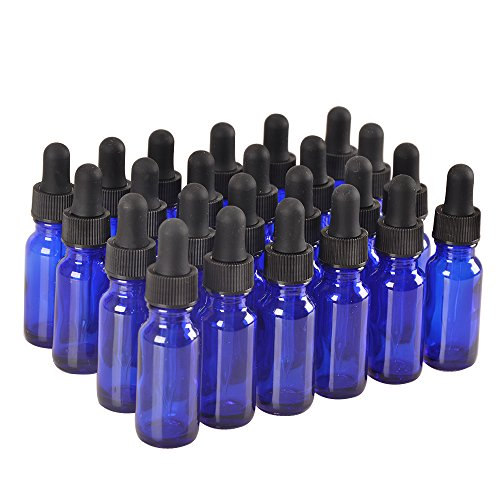 24Pack,1/2oz 0.5 oz,Blue Glass Bottle Bottles with Black cap and Glass Droppers.Using for Essential Oils,Lab Chemicals,Colognes,Perfumes & Other (0.5 Ounce Dropper)