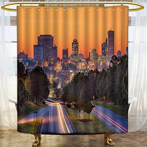 Mikihome Shower Curtain Collection by Skyline of Columbia City South Carolina Main Street Urban Scene Patterned Shower Curtain W48 x H72 -