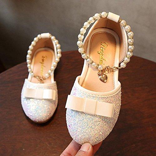 Prevently Mädchen Schuhe Kleinkind-Kind-Mädchen-Baby-Mode-Prinzessin Dance Leather Casual Einzelne Schuhe Mädchen Pailletten Bogen Schuhe Prinzessin Schuhe Weiß