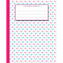 """Composition Notebook: 8""""x10"""" - Pink and Blue Lovebirds Cover from Scrawlables.com"""