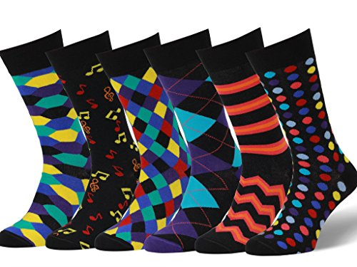 - Easton Marlowe Men's Colorful Patterned Dress Socks - 6pk #22, neutral colors - 43-46 EU shoe size