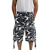 La Gate Mens Big and Tall Belted up to size 50 Cargo Short (40, White Camo)