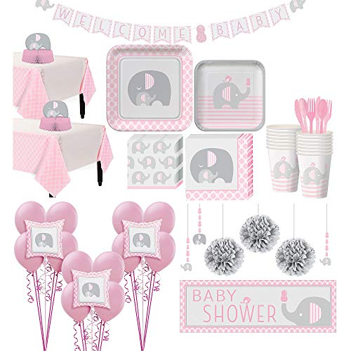 Party City Pink Baby Elephant Premium Baby Shower Supplies for 32 Guests, Include Tableware, Balloons, and Decorations ()