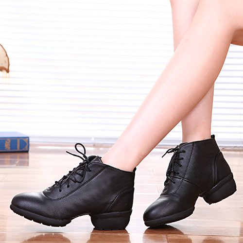 Lace Top Womens Toe Low Mid Sole Closed Heel Boot Black Jazz Up Split Shoes Dance Modern 7 Rumba US Abby 5 Ankle 1807 PU M OwY5qY8