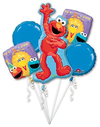 - Party Destination - Sesame 1st Birthday Balloon Bouquet