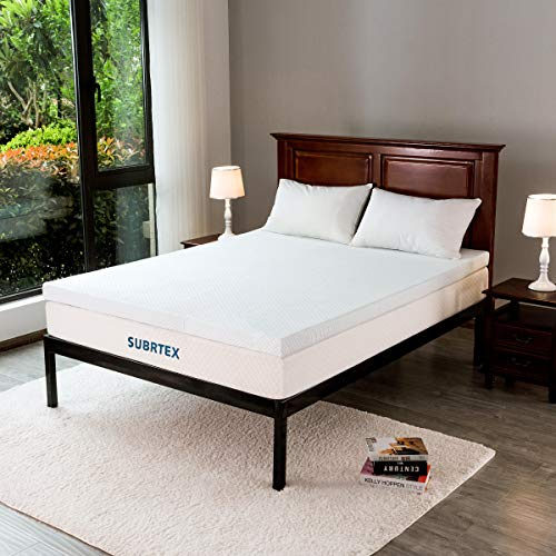 Subrtex 3 inches Gel-Infused Memory Foam Bed Mattress Topper High Density Cooling Pad Removable Fitted Bamboo Cover Ventilated Design-10 Years Warranty (Queen) ()
