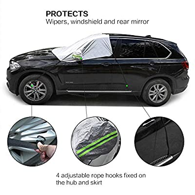 Power Tiger CAR ACCESSORIES Windshield Sun Shade Cover with Mirror Cover, Blocks UV Rays Sun Visor Protector Keep Your Vehicle Cool All Weather Auto Sun Shade for Cars Trucks SUV (93.7