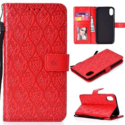 - iPhone XR Wallet Cover,iPhone XR Credit Card Case,Aulzaju iPhone XR Beauty Flower Cane Ethnic Classic Shockproof PU Leather Case with Kickstand Strap for Girls Women-Red