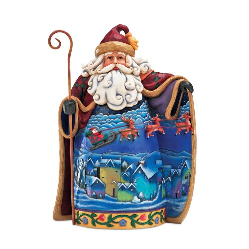 (Enesco Jim Shore Heartwood Creek Santa with Santa Flying Over Town Scene Figurine 12-1/4-Inch)