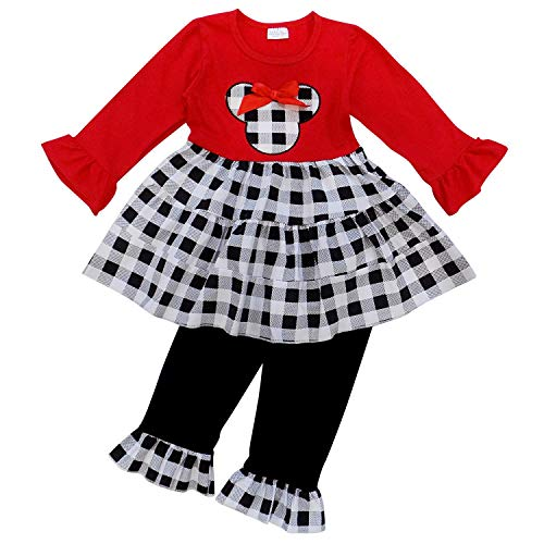 So Sydney Girls Toddler Pink or Red Minnie Mouse Kids Boutique Dress or Outfit (S (3T), Black Plaid Mouse)]()