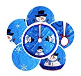 EBTOYS Christmas Tree Skirt Christmas Snowman Plush Skirt Christmas Decorations-Red,31inch