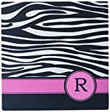 3dRose LLC 8 x 8 x 0.25 Inches Mouse Pad, Letter R Monogrammed Black And White Zebra Stripes Animal Print with Hot Pink Personalized Initial (mp_154289_1)