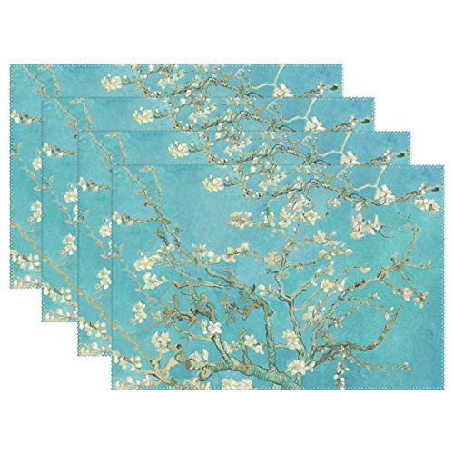 WIHVE Placemats Set of 6, Van Gogh Branches of Almond Tree in Blossom Holiday Non Slip Heat-Resistant Washable Polyester Table Place Mats for Kitchen Dining Table, 12