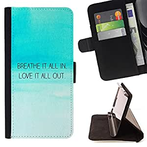 BullDog Case - FOR/Sony Xperia Z1 Compact D5503 / - / breath in love out inspirational quote blue sky /- Monedero de cuero de la PU Llevar cubierta de la caja con el ID Credit Card Slots Flip funda de cuer