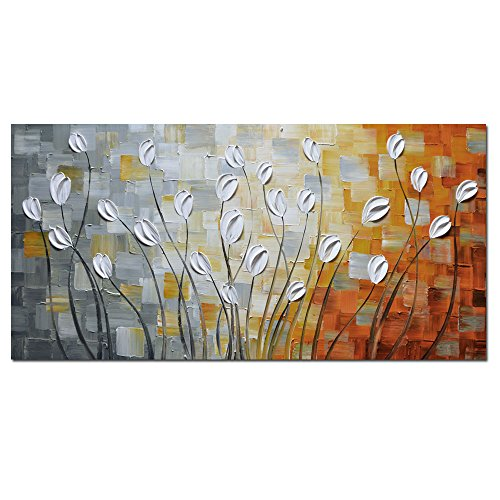 Asdam Art - Oil Paintings on Canvas Budding Flowers 100% Hand-Painted On Canvas Abstract Artwork Floral Wall Art Decorative Pictures Home Decor White (20X40 inch)