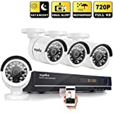 [720P HD] Sannce 8CH AHD-720P DVR with 4 Outdoor Fixed Bullet Cameras (1.0MP Even Better Than 1200TVL, H.264 Realtime Streaming, Email & Push Notification, Day/Night Vision)-NO HDD ¡­