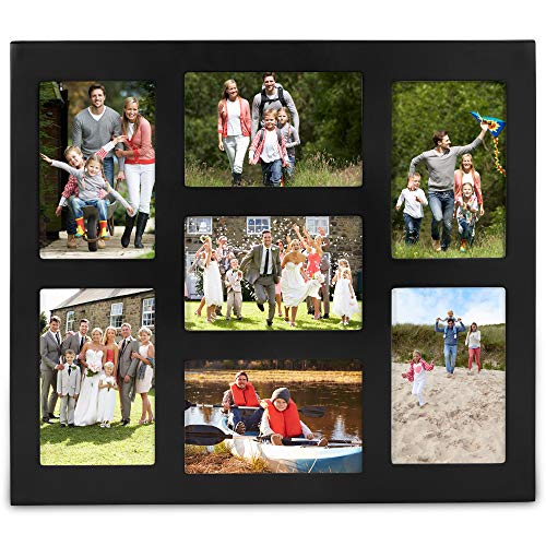VonHaus 7X Decorative Collage Picture Frames Multiple 4x6 Photos - Black Wooden Hanging Wall Photo Photograph 7 Openings - Ideal as Personalized Gift for Friends and ()
