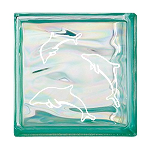 ガラスブロック 屋外壁 間仕切壁日本 デザインガラスブロック 柄:イルカ 色:ウェービーグリーン 1個単位 190×190×80mm B0793RDSCZ