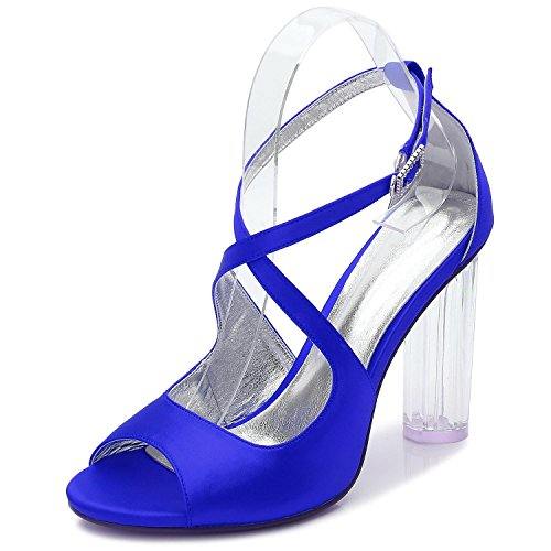 L@YC Women Wedding Shoes F2615-4 Satin Shoes Peep Toe Bridal Platform Crystal/High Heels Blue UjmNmbZG