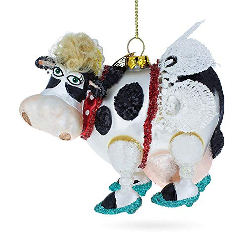 BestPysanky Cow with The Wings Blown Glass Christmas -