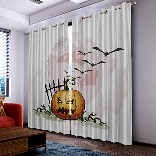 Prime Leader Curtains for Living Room- Darkening Thermal Insulated Window Treatment Curtains, with Grommet Home Decor Cartoon Halloween Pumpkin and Bats (2 Panels, 52 x 72 Inch Each Panel) ()