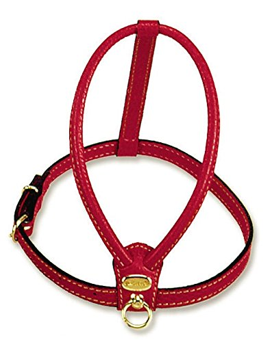Petego La Cinopelca Tubular Calfskin Dog Harness with Pebble Grain Finish, Red, Small
