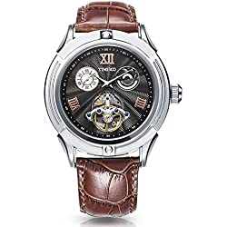 Time100 Mens Fashion Skeleton Leather Strap Automatic Mechanical Skeleton Watch #W60053G.02A