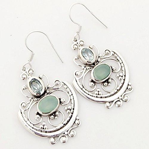 Kanika Jewelry Trove Genuine Blue Topaz & Aqua Chalcedony 925 Sterling Silver Earrings (Chalcedony Earrings Topaz Blue)